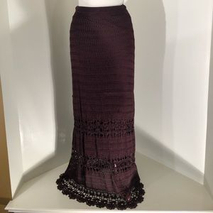Chico's  Brown Double Layered Lace skirt; size 3